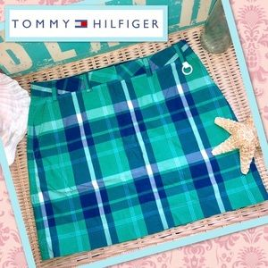 Tommy Hilfiger Preppy Green Plaid Mini Skirt 8